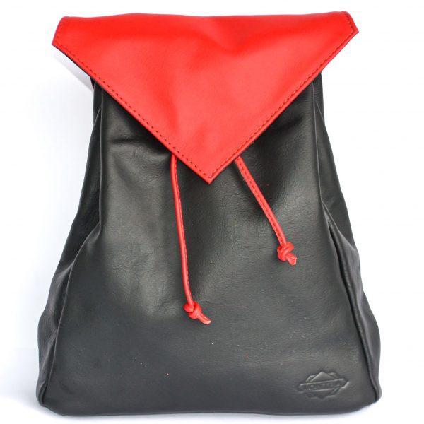 fekete piros variálható női bőr hátizsák