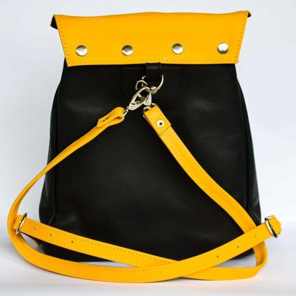 fekete variálható női bőr hátizsák