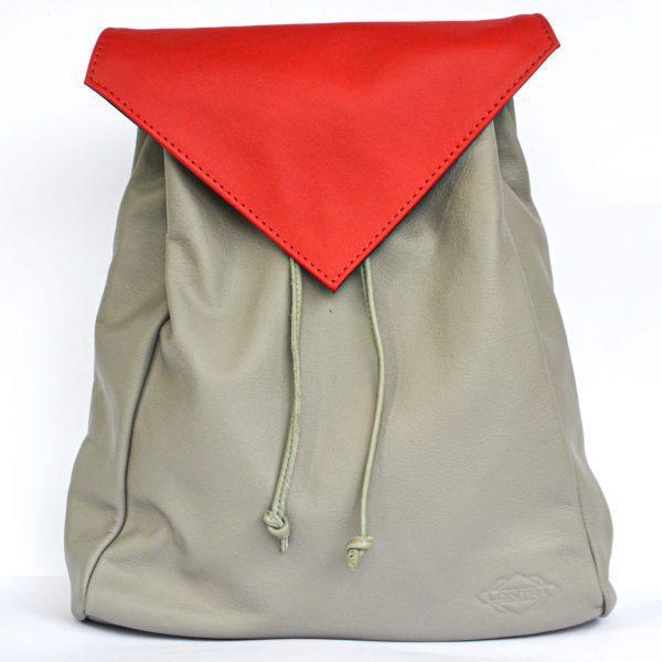 szürke variálható női bőr hátizsák