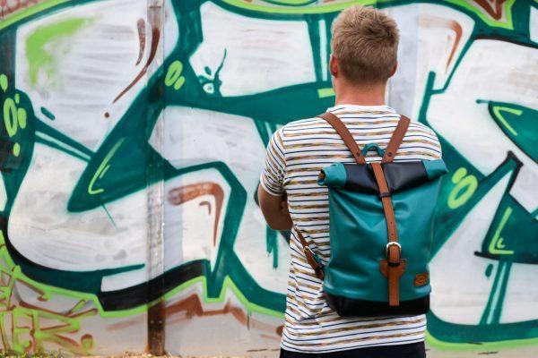 unisex bőr elegáns rolltop hátizsák