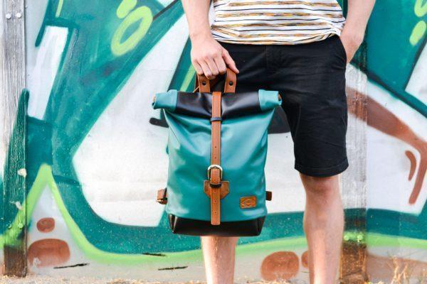 unisex bőr rolltop hátizsák