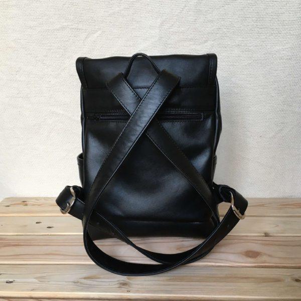 valódi bőr fekete unisex kézzel készített hátizsák